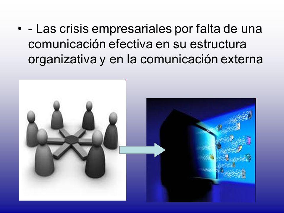 - Las crisis empresariales por falta de una comunicación efectiva en su estructura organizativa y en la comunicación externa