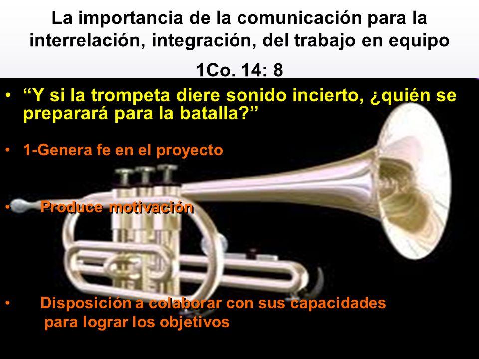 La importancia de la comunicación para la interrelación, integración, del trabajo en equipo 1Co. 14: 8 Y si la trompeta diere sonido incierto, ¿quién