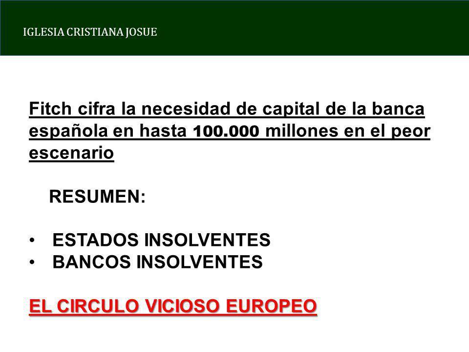 IGLESIA CRISTIANA JOSUE Fitch cifra la necesidad de capital de la banca española en hasta 100.000 millones en el peor escenario RESUMEN: ESTADOS INSOLVENTES BANCOS INSOLVENTES EL CIRCULO VICIOSO EUROPEO