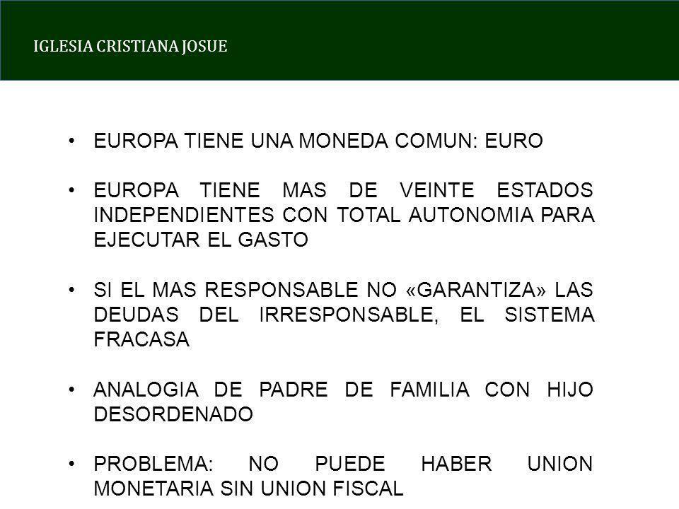 IGLESIA CRISTIANA JOSUE EUROPA TIENE UNA MONEDA COMUN: EURO EUROPA TIENE MAS DE VEINTE ESTADOS INDEPENDIENTES CON TOTAL AUTONOMIA PARA EJECUTAR EL GASTO SI EL MAS RESPONSABLE NO «GARANTIZA» LAS DEUDAS DEL IRRESPONSABLE, EL SISTEMA FRACASA ANALOGIA DE PADRE DE FAMILIA CON HIJO DESORDENADO PROBLEMA: NO PUEDE HABER UNION MONETARIA SIN UNION FISCAL