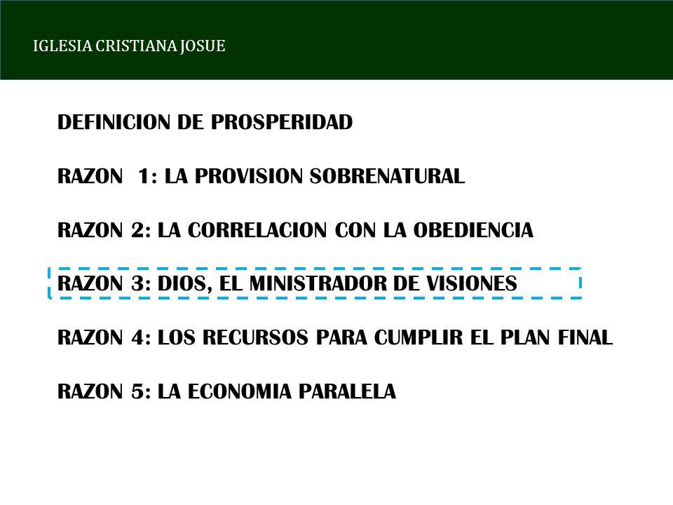 IGLESIA CRISTIANA JOSUE DEFINICION DE PROSPERIDAD RAZON 1: LA PROVISION SOBRENATURAL RAZON 2: LA CORRELACION CON LA OBEDIENCIA RAZON 3: DIOS, EL MINIS
