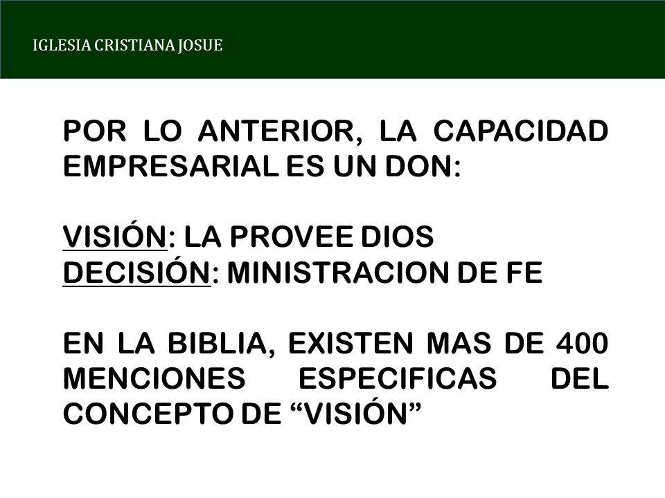 IGLESIA CRISTIANA JOSUE POR LO ANTERIOR, LA CAPACIDAD EMPRESARIAL ES UN DON: VISIÓN: LA PROVEE DIOS DECISIÓN: MINISTRACION DE FE EN LA BIBLIA, EXISTEN
