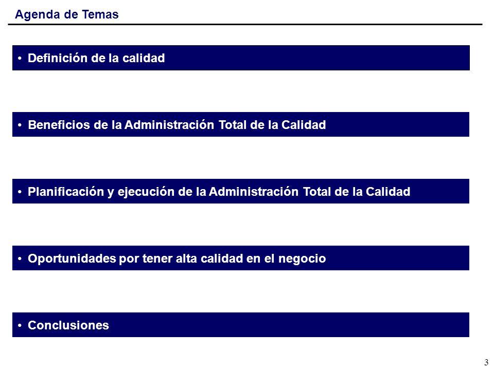 Agenda de Temas Definición de la calidad Beneficios de la Administración Total de la Calidad Planificación y ejecución de la Administración Total de l