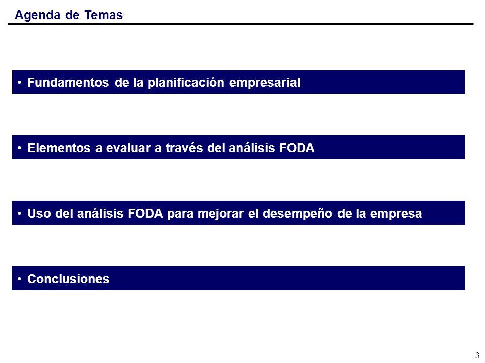 Agenda de Temas Fundamentos de la planificación empresarial Elementos a evaluar a través del análisis FODA Uso del análisis FODA para mejorar el desem