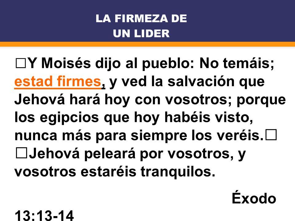 Y Moisés dijo al pueblo: No temáis; estad firmes, y ved la salvación que Jehová hará hoy con vosotros; porque los egipcios que hoy habéis visto, nunca