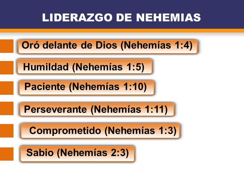 LIDERAZGO DE NEHEMIAS Oró delante de Dios (Nehemías 1:4) Humildad (Nehemías 1:5) Paciente (Nehemías 1:10) Perseverante (Nehemías 1:11) Comprometido (N
