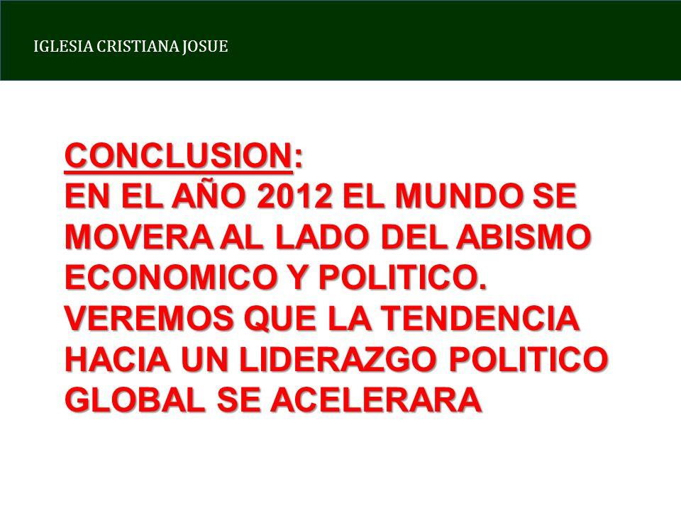 IGLESIA CRISTIANA JOSUE CONCLUSION: EN EL AÑO 2012 EL MUNDO SE MOVERA AL LADO DEL ABISMO ECONOMICO Y POLITICO. VEREMOS QUE LA TENDENCIA HACIA UN LIDER