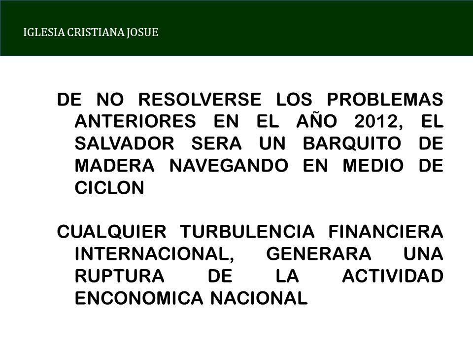 IGLESIA CRISTIANA JOSUE DE NO RESOLVERSE LOS PROBLEMAS ANTERIORES EN EL AÑO 2012, EL SALVADOR SERA UN BARQUITO DE MADERA NAVEGANDO EN MEDIO DE CICLON