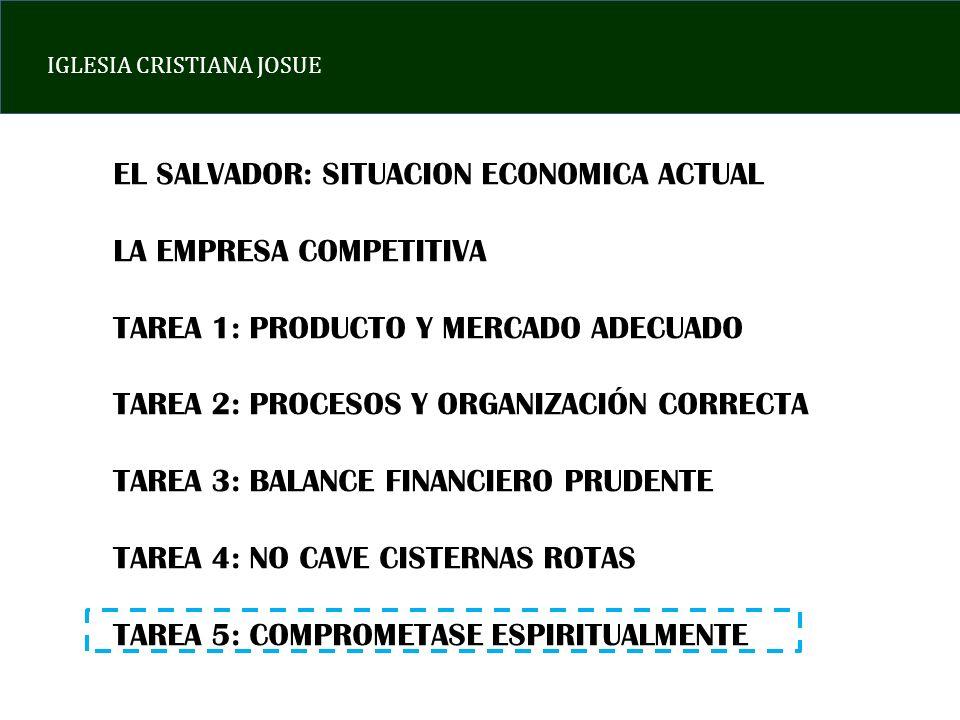 IGLESIA CRISTIANA JOSUE EL SALVADOR: SITUACION ECONOMICA ACTUAL LA EMPRESA COMPETITIVA TAREA 1: PRODUCTO Y MERCADO ADECUADO TAREA 2: PROCESOS Y ORGANI