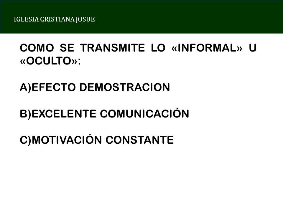 IGLESIA CRISTIANA JOSUE COMO SE TRANSMITE LO «INFORMAL» U «OCULTO»: A)EFECTO DEMOSTRACION B)EXCELENTE COMUNICACIÓN C)MOTIVACIÓN CONSTANTE