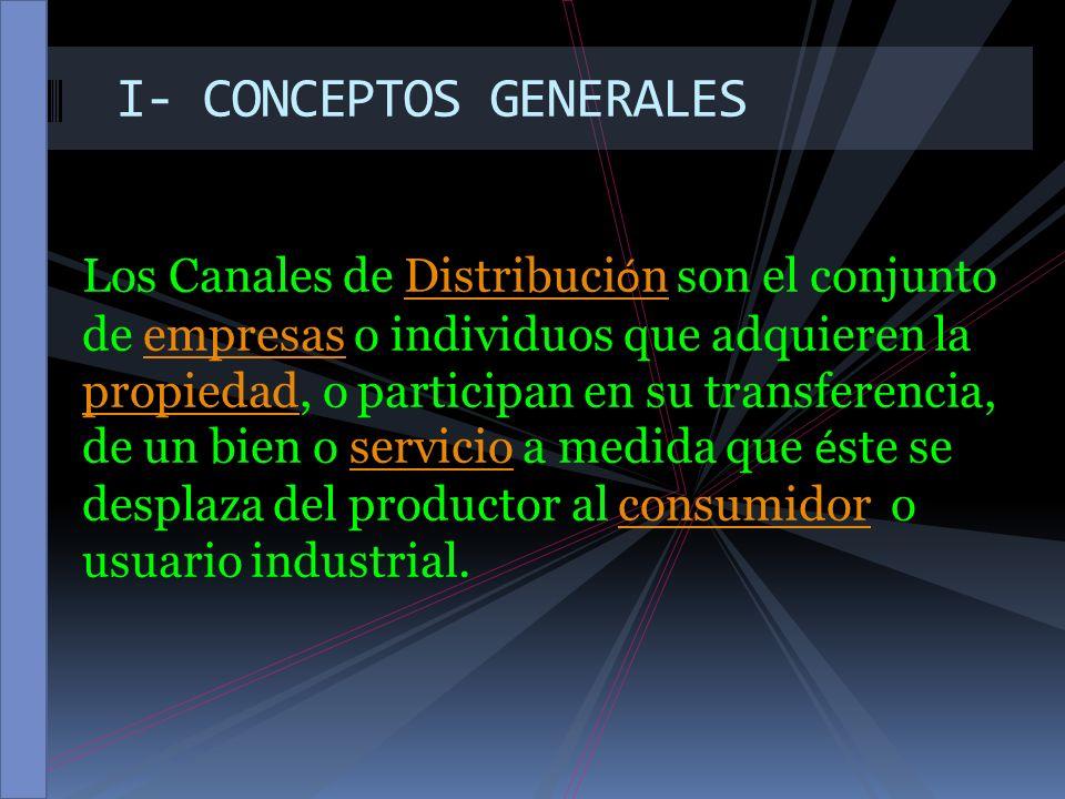 II – ACTORES QUE INTERVIENEN EN LOS CANALES DE DISTRIBUCION Los Canales de marketing son conjuntos de organizaciones interdépendantes que participan en el proceso de hacer accessible un producto o servicio para su uso o consumo.