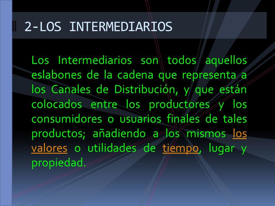 Los Intermediarios son todos aquellos eslabones de la cadena que representa a los Canales de Distribución, y que están colocados entre los productores