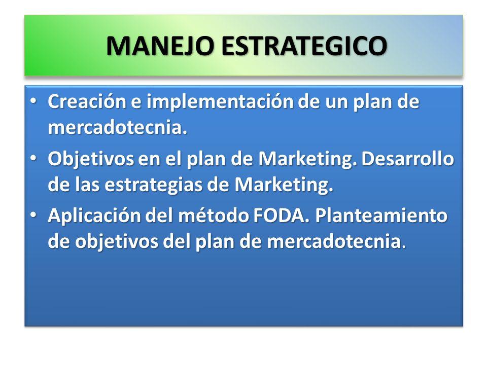 MANEJO ESTRATEGICO Creación e implementación de un plan de mercadotecnia. Creación e implementación de un plan de mercadotecnia. Objetivos en el plan