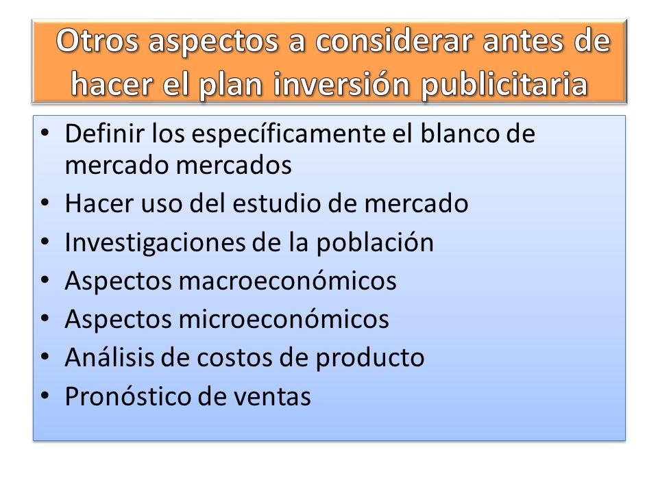 Definir los específicamente el blanco de mercado mercados Hacer uso del estudio de mercado Investigaciones de la población Aspectos macroeconómicos As