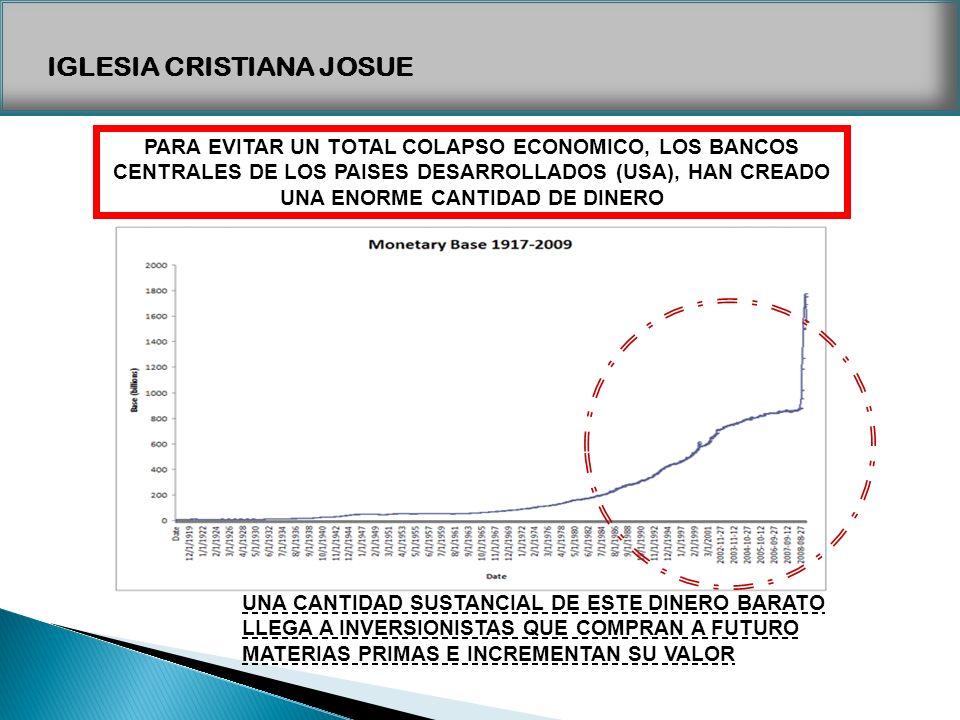 IGLESIA CRISTIANA JOSUE PARA EVITAR UN TOTAL COLAPSO ECONOMICO, LOS BANCOS CENTRALES DE LOS PAISES DESARROLLADOS (USA), HAN CREADO UNA ENORME CANTIDAD
