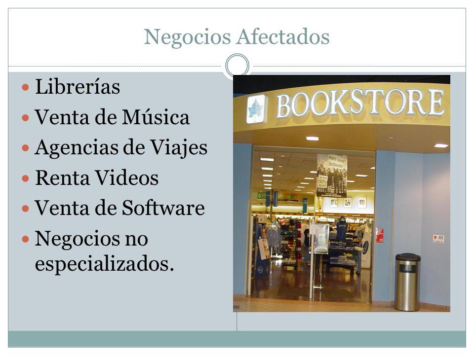 Negocios Afectados Librerías Venta de Música Agencias de Viajes Renta Videos Venta de Software Negocios no especializados.