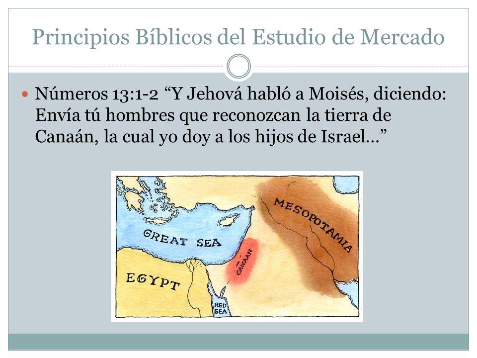 Principios Bíblicos del Estudio de Mercado Números 13:1-2 Y Jehová habló a Moisés, diciendo: Envía tú hombres que reconozcan la tierra de Canaán, la c