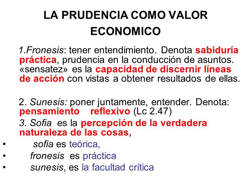 LA PRUDENCIA COMO VALOR ECONOMICO 1.Fronesis: tener entendimiento. Denota sabiduría práctica, prudencia en la conducción de asuntos. «sensatez» es la
