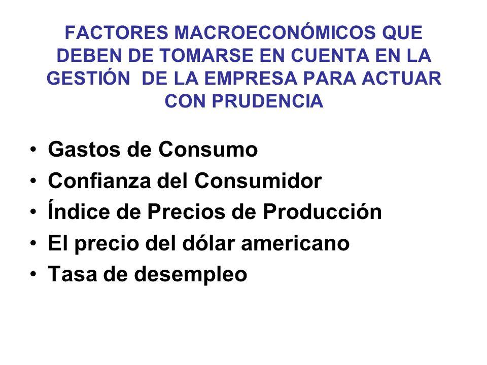 FACTORES MACROECONÓMICOS QUE DEBEN DE TOMARSE EN CUENTA EN LA GESTIÓN DE LA EMPRESA PARA ACTUAR CON PRUDENCIA Gastos de Consumo Confianza del Consumid