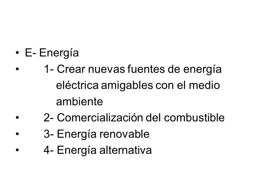 E- Energía 1- Crear nuevas fuentes de energía eléctrica amigables con el medio ambiente 2- Comercialización del combustible 3- Energía renovable 4- En