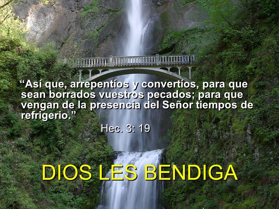 Así que, arrepentíos y convertíos, para que sean borrados vuestros pecados; para que vengan de la presencia del Señor tiempos de refrigerio. Hec. 3: 1
