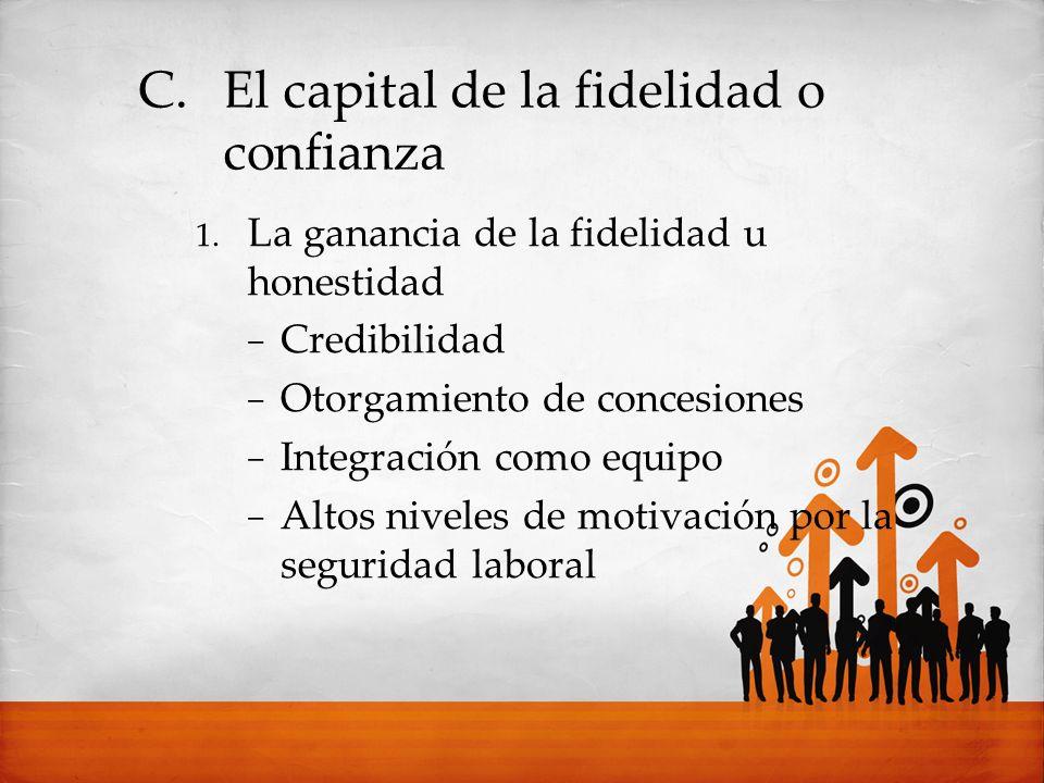 C.El capital de la fidelidad o confianza 1. La ganancia de la fidelidad u honestidad Credibilidad Otorgamiento de concesiones Integración como equipo