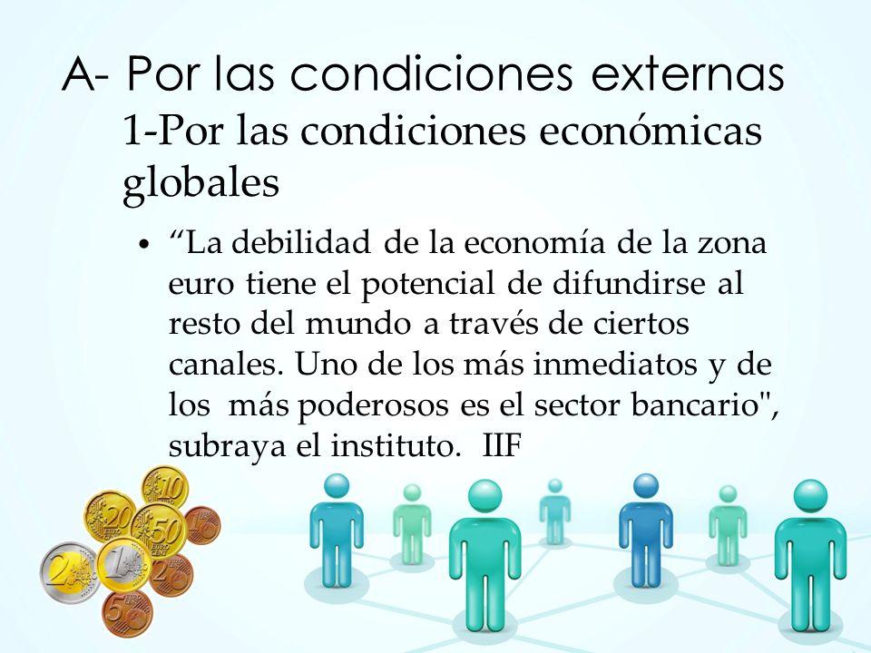 1-Por las condiciones económicas globales La debilidad de la economía de la zona euro tiene el potencial de difundirse al resto del mundo a través de