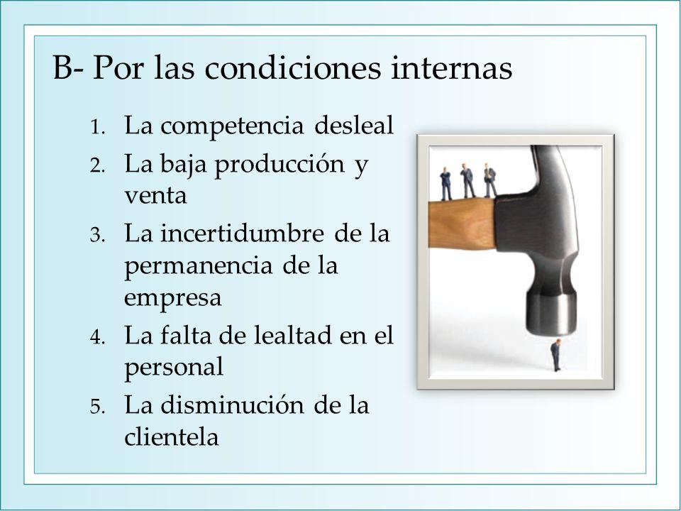 B- Por las condiciones internas 1. La competencia desleal 2. La baja producción y venta 3. La incertidumbre de la permanencia de la empresa 4. La falt