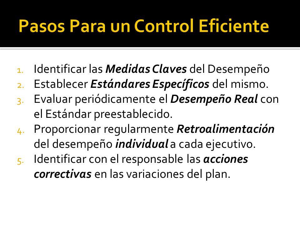 1. Identificar las Medidas Claves del Desempeño 2. Establecer Estándares Específicos del mismo. 3. Evaluar periódicamente el Desempeño Real con el Est