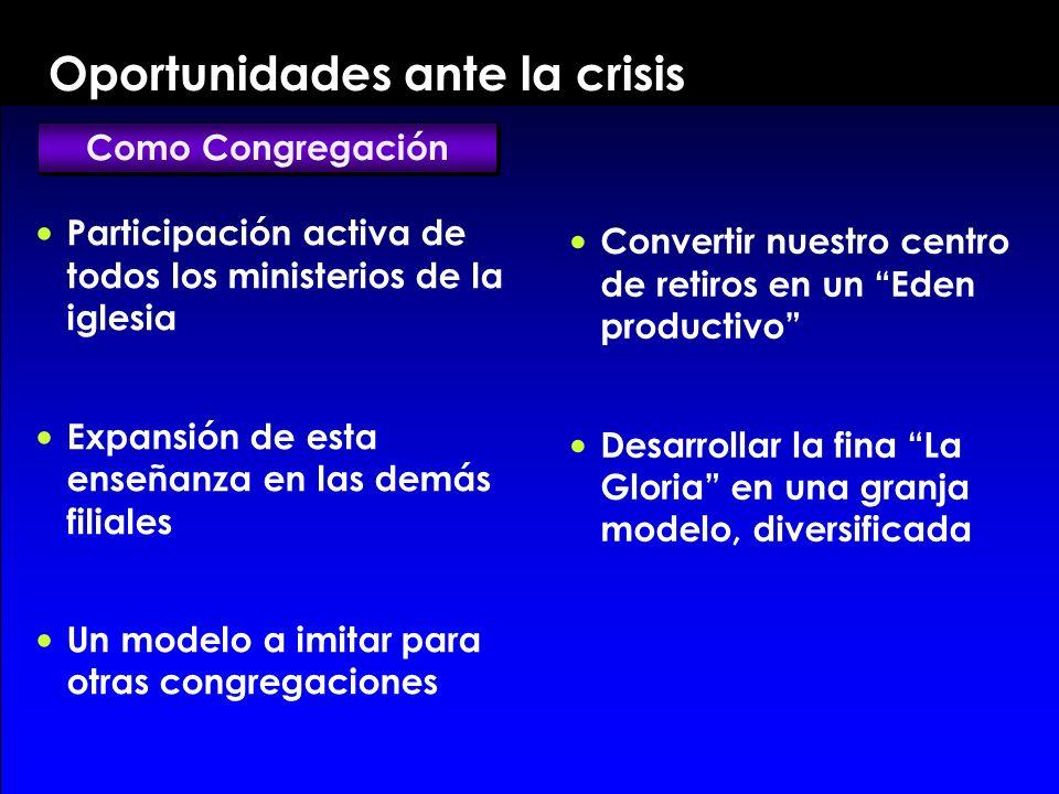 Oportunidades ante la crisis P articipación activa de todos los ministerios de la iglesia E xpansión de esta enseñanza en las demás filiales U n model