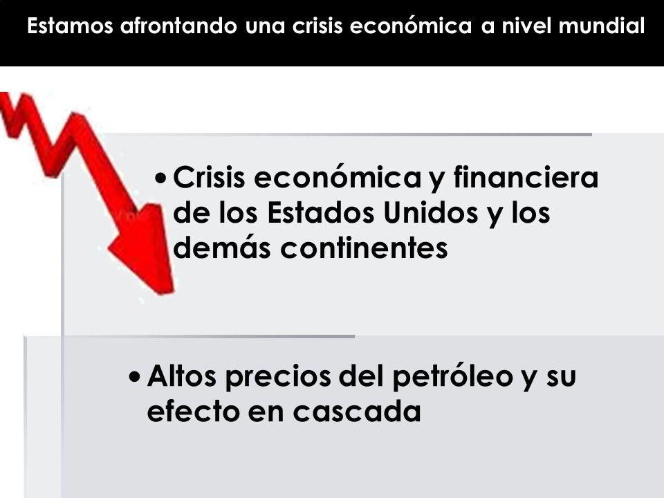 Estamos afrontando una crisis económica a nivel mundial Crisis económica y financiera de los Estados Unidos y los demás continentes Altos precios del