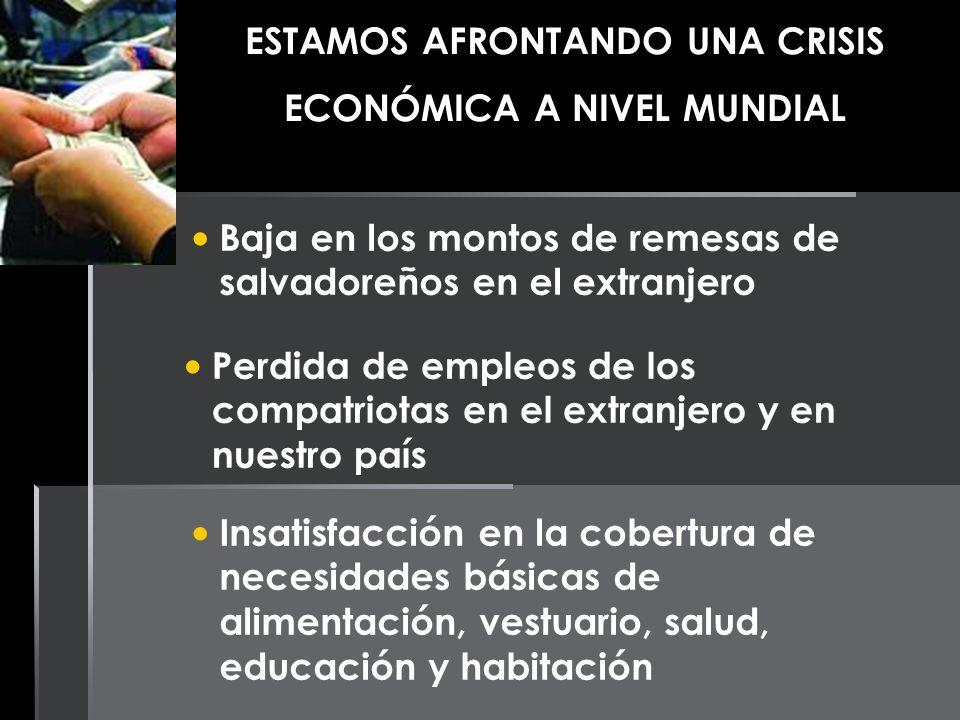ESTAMOS AFRONTANDO UNA CRISIS ECONÓMICA A NIVEL MUNDIAL Baja en los montos de remesas de salvadoreños en el extranjero Perdida de empleos de los compa