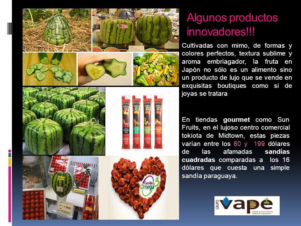 Algunos productos innovadores!!! Cultivadas con mimo, de formas y colores perfectos, textura sublime y aroma embriagador, la fruta en Japón no sólo es