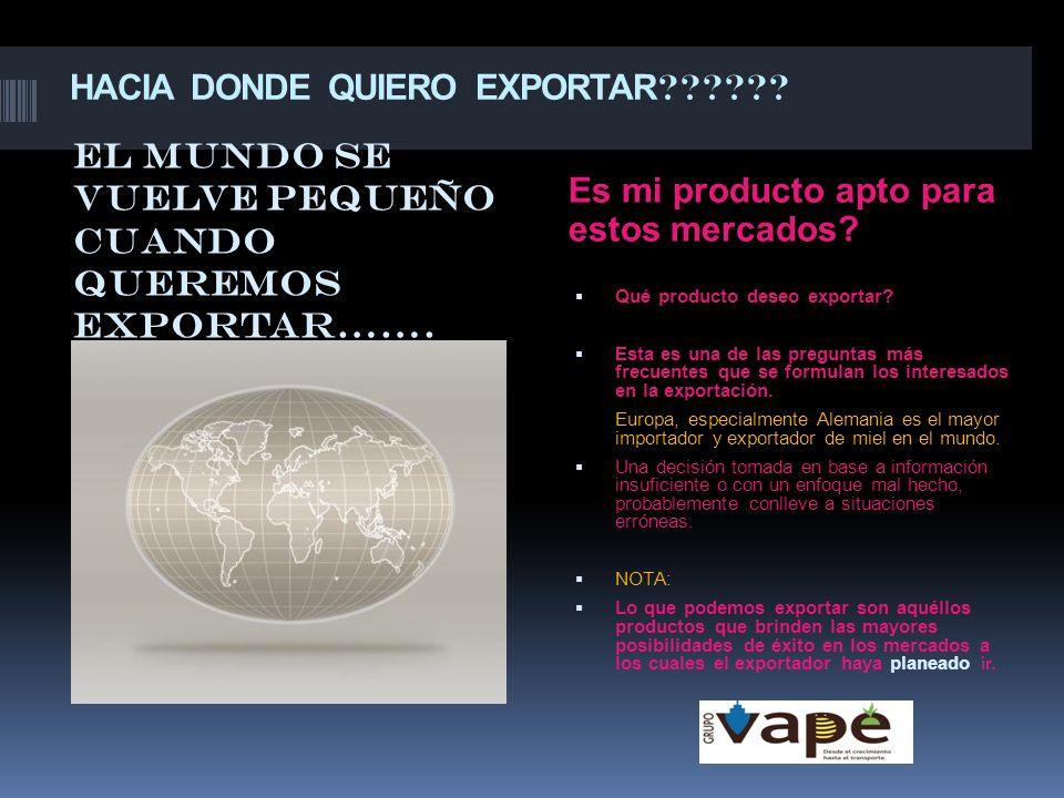 HACIA DONDE QUIERO EXPORTAR ?????? Es mi producto apto para estos mercados? Qué producto deseo exportar? Esta es una de las preguntas más frecuentes q
