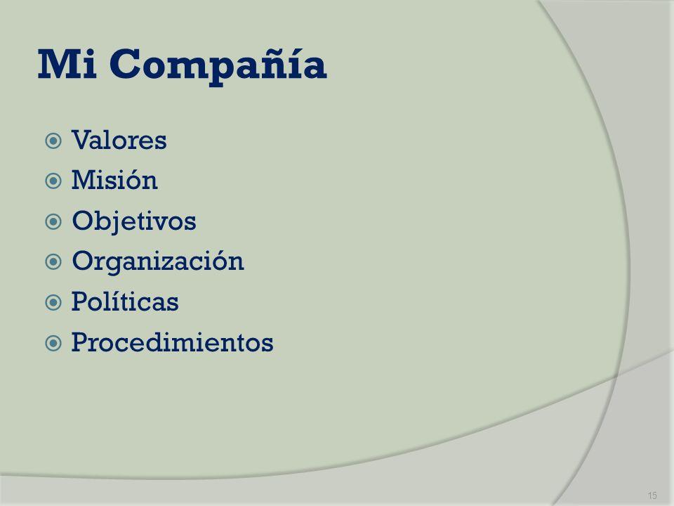 Mi Compañía Valores Misión Objetivos Organización Políticas Procedimientos 15