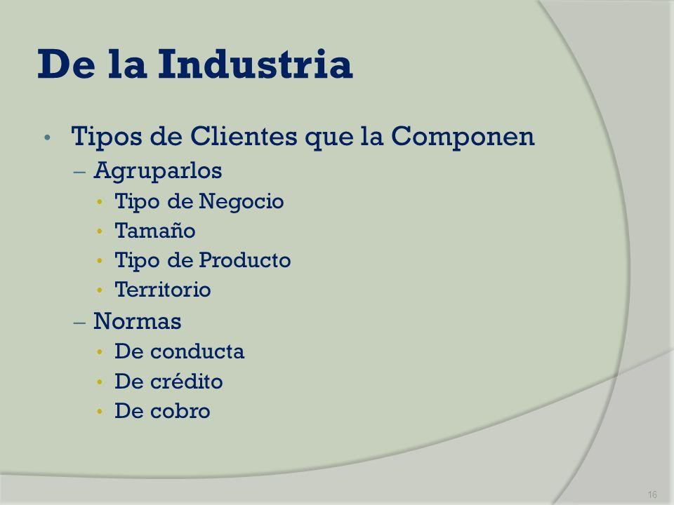 De la Industria Tipos de Clientes que la Componen – Agruparlos Tipo de Negocio Tamaño Tipo de Producto Territorio – Normas De conducta De crédito De c