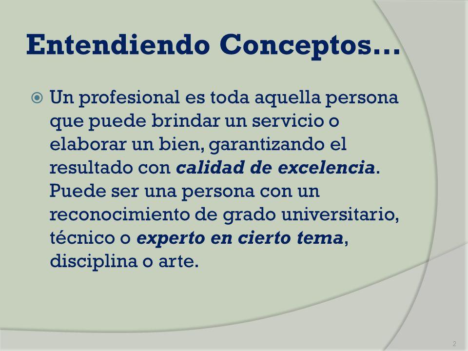 Entendiendo Conceptos… Un profesional es toda aquella persona que puede brindar un servicio o elaborar un bien, garantizando el resultado con calidad