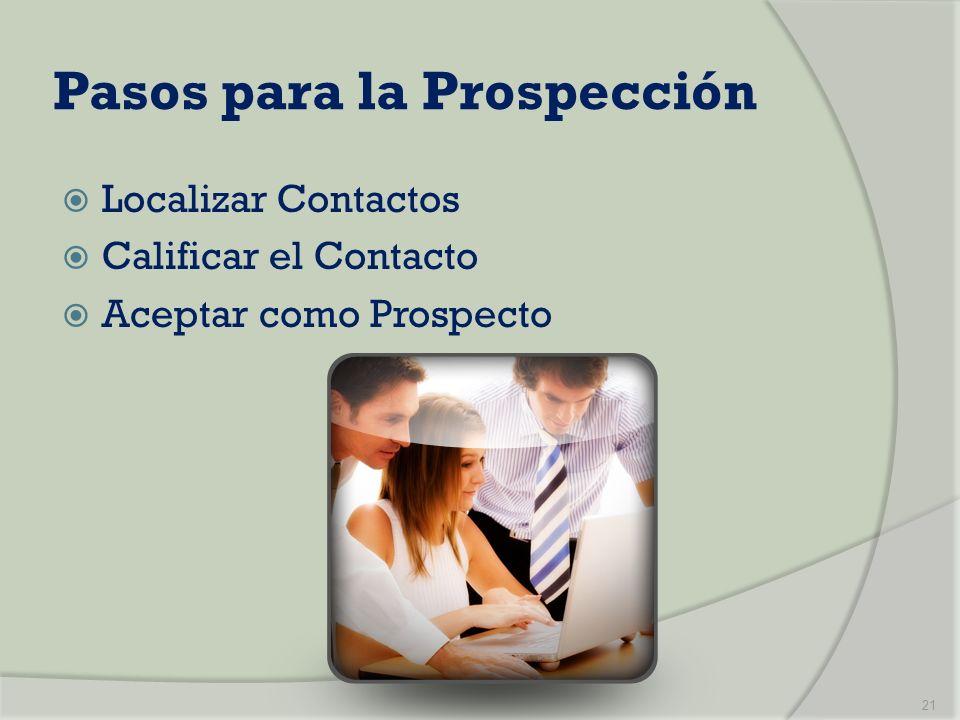 Pasos para la Prospección Localizar Contactos Calificar el Contacto Aceptar como Prospecto 21