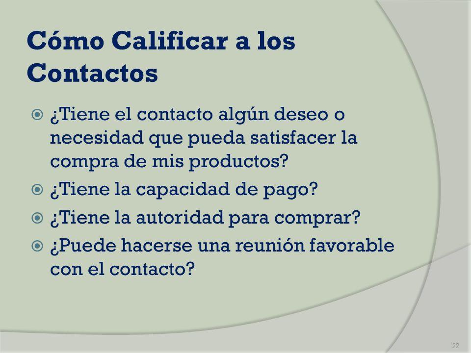 Cómo Calificar a los Contactos ¿Tiene el contacto algún deseo o necesidad que pueda satisfacer la compra de mis productos? ¿Tiene la capacidad de pago