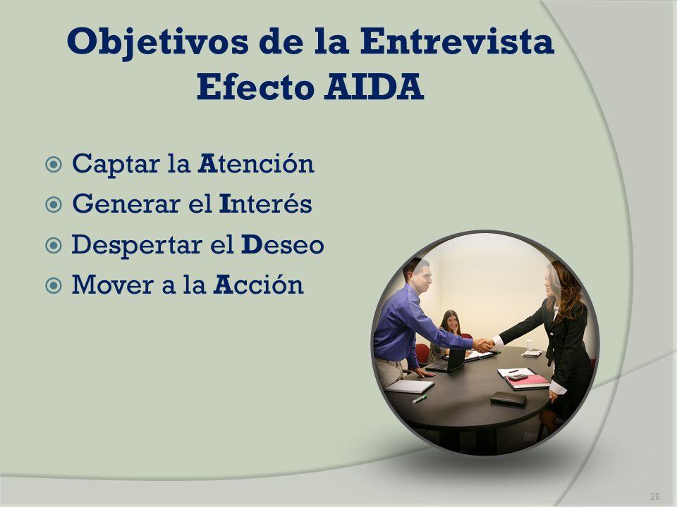 Objetivos de la Entrevista Efecto AIDA Captar la Atención Generar el Interés Despertar el Deseo Mover a la Acción 28