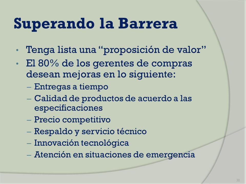 Superando la Barrera Tenga lista una proposición de valor El 80% de los gerentes de compras desean mejoras en lo siguiente: – Entregas a tiempo – Cali