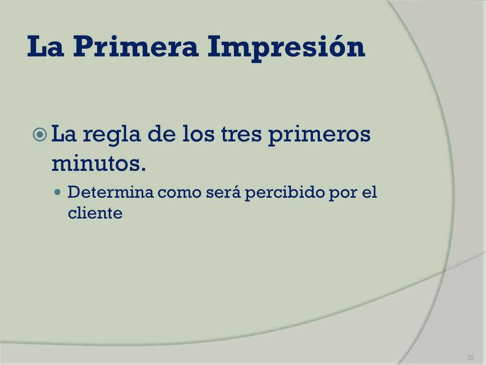 La Primera Impresión La regla de los tres primeros minutos. Determina como será percibido por el cliente 35