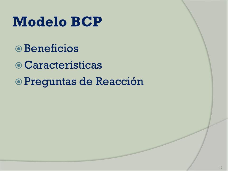 Modelo BCP Beneficios Características Preguntas de Reacción 42