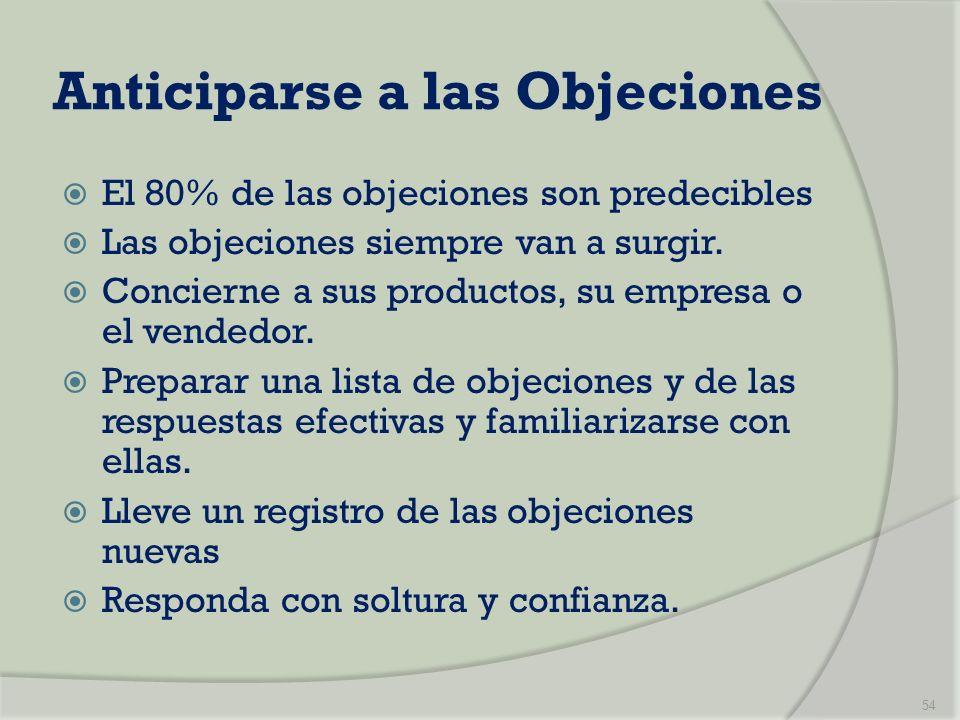 Anticiparse a las Objeciones El 80% de las objeciones son predecibles Las objeciones siempre van a surgir. Concierne a sus productos, su empresa o el