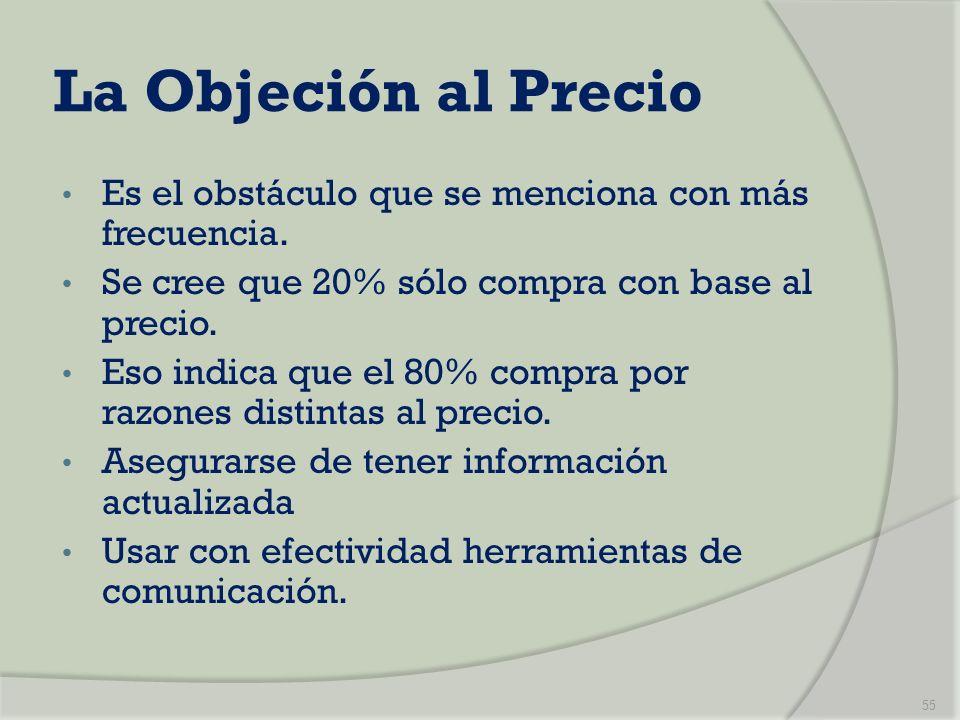 La Objeción al Precio Es el obstáculo que se menciona con más frecuencia. Se cree que 20% sólo compra con base al precio. Eso indica que el 80% compra