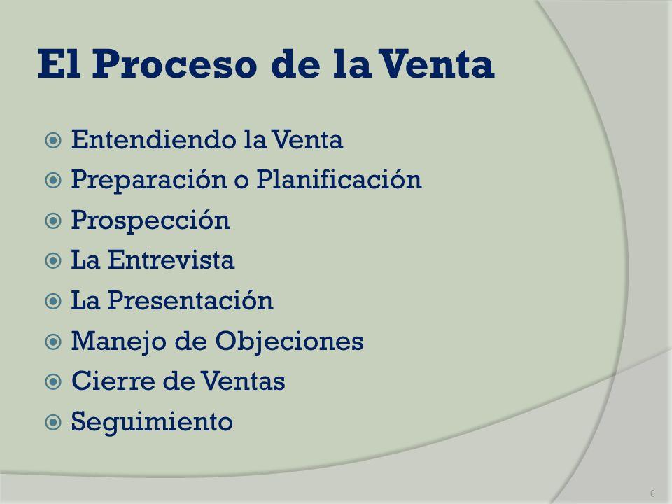 El Proceso de la Venta Entendiendo la Venta Preparación o Planificación Prospección La Entrevista La Presentación Manejo de Objeciones Cierre de Venta