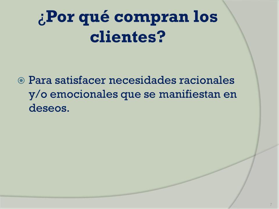 ¿Por qué compran los clientes? Para satisfacer necesidades racionales y/o emocionales que se manifiestan en deseos. 7