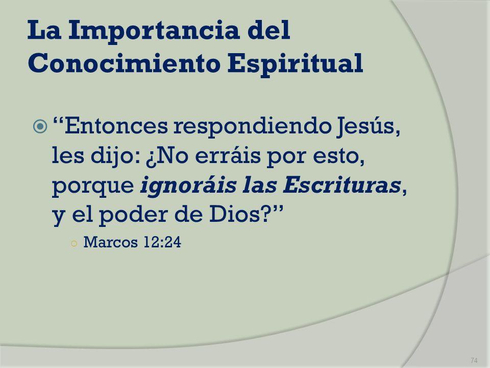 La Importancia del Conocimiento Espiritual Entonces respondiendo Jesús, les dijo: ¿No erráis por esto, porque ignoráis las Escrituras, y el poder de D