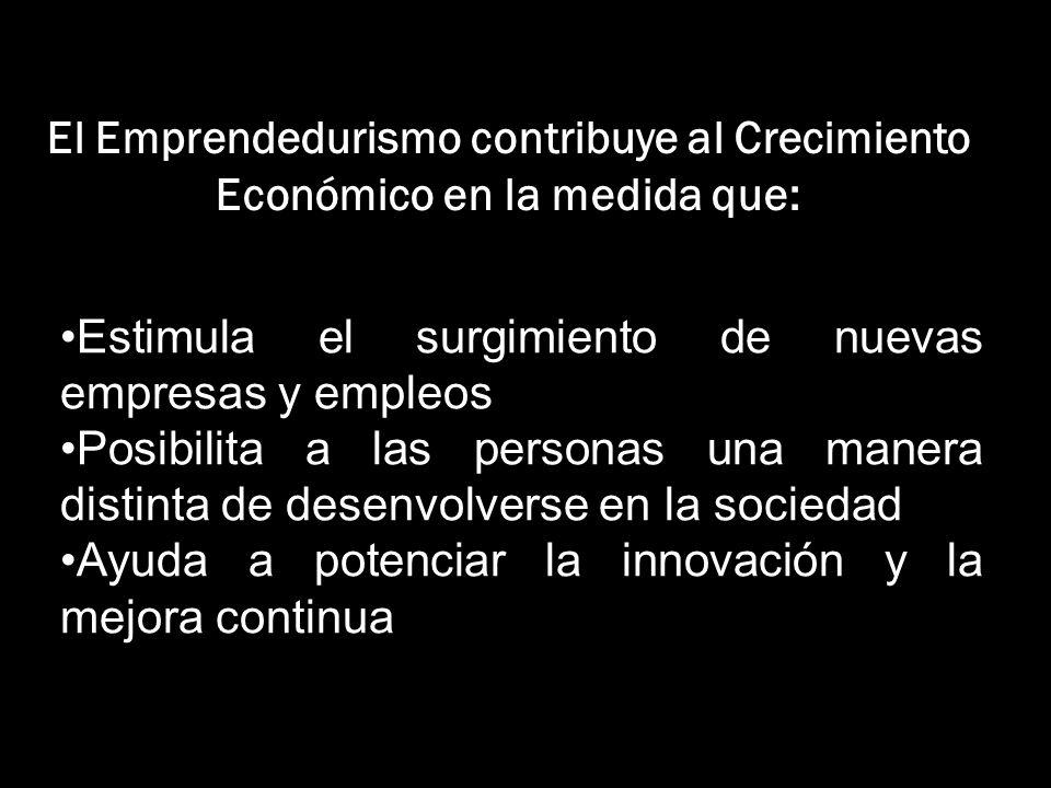 El Emprendedurismo contribuye al Crecimiento Económico en la medida que: Estimula el surgimiento de nuevas empresas y empleos Posibilita a las persona