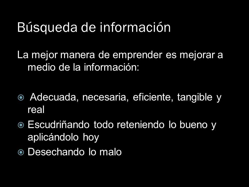 Búsqueda de información La mejor manera de emprender es mejorar a medio de la información: Adecuada, necesaria, eficiente, tangible y real Escudriñand